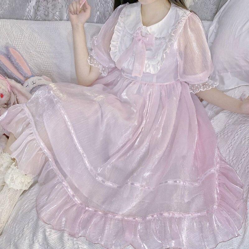2020 جديد الصيف الشاي حفلة فتاة يابانية لوليتا دمية طوق القوس الخصر المعانقة الحلو لوليتا فستان woemn لوليتا الأميرة فستان