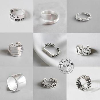 Bagues Vintage en métal argenté pour hommes et femmes, bagues ouvertes, Design, bijoux de fête, cadeaux, lettre Punk