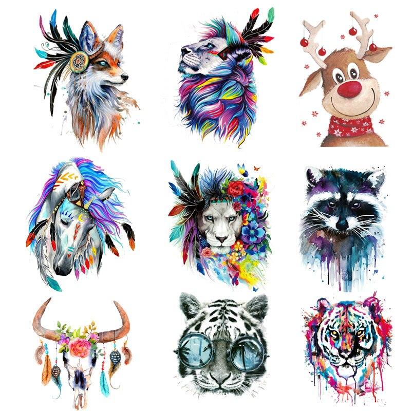 Parches de plumas de Tigre y unicornio Lobo, pegatinas de rayas para planchar, para ropa con estampado térmico, lavable A nivel, transferencia térmica DIY