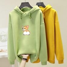 Autumn Funny Corgi Dog Print Women Sweatshirt Poleron Mujer Cute Animal Graphic Oversized Hoodies Femme Cartoon Tops Pullovers