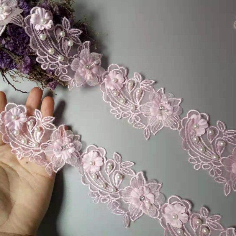 Nuevo 10x Perla Rosa con cuentas flor hoja bordado encaje cinta recortada cosido a mano de tejidos artesanía para la decoración del sombrero de disfraz caliente