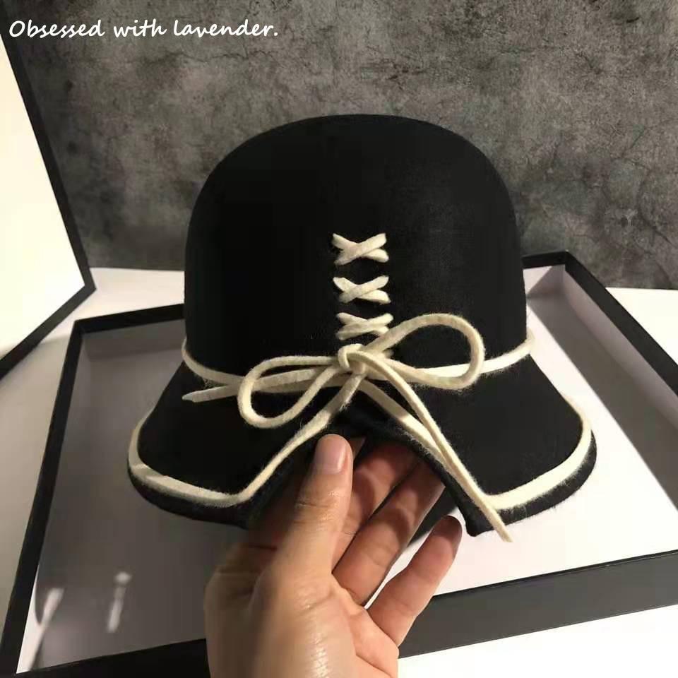 Obsessed with lavender.Fall/winter Hat Female England Vintage Fisherman Hat Korean Joker Hat Wool Hat