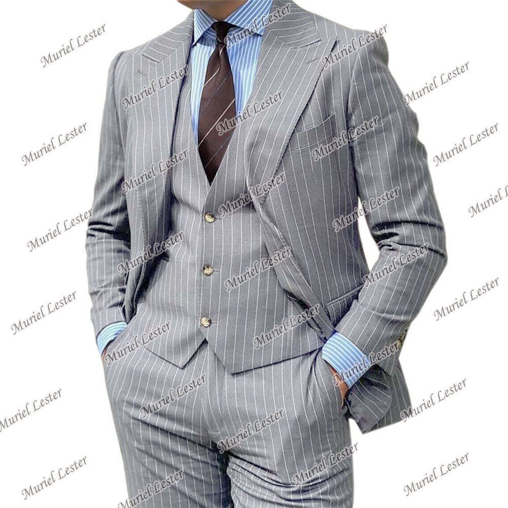 طقم بدلة رسمية للرجال مخططة باللون الرمادي/الكحلي/الأزرق بلازر مصممة حسب الطلب من Ternos Masculino 3 قطع جاكيت + صدرية + بنطلون بدلة العريس