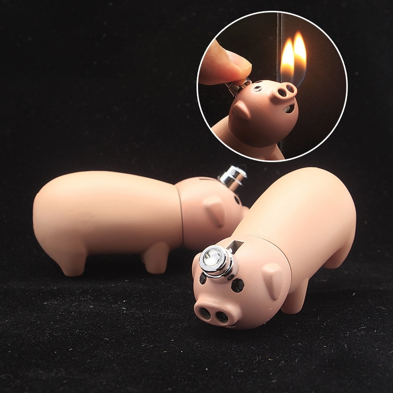 Mini Funny Piggy Gas Lighters Cigarette Cigar Pipe Gadgets for Men Gift Smoking Accessories Unusual