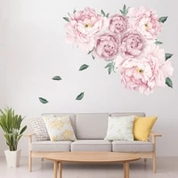 Autocollants muraux fleurs de pivoine rose doux  pour chambre denfants  salon  chambre a coucher  meubles  decoration de maison