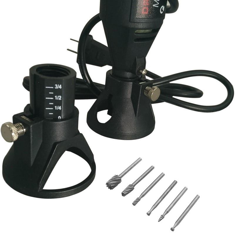 Acessórios para dremel qwork 68x60mm, ferramenta de broca com localizador e rebarbas de madeira para rotação ferramentas,