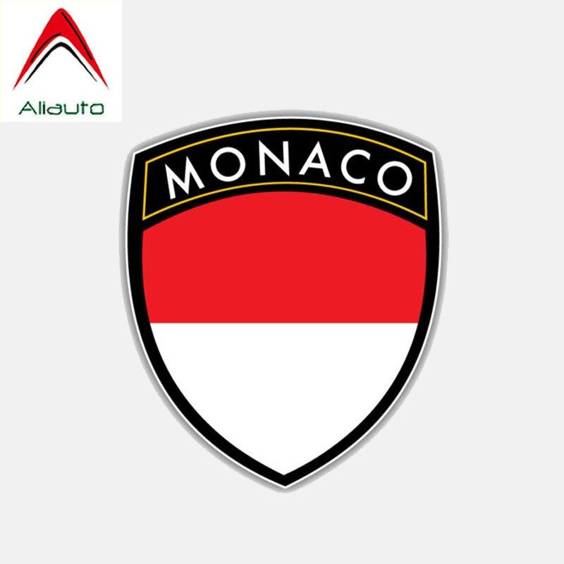 Aliauto personalidad creativa Calcomanía para auto, motocicleta Monaco escudo con bandera impermeable protector solar Anti-UV etiqueta reflectante, 10cm * 12cm