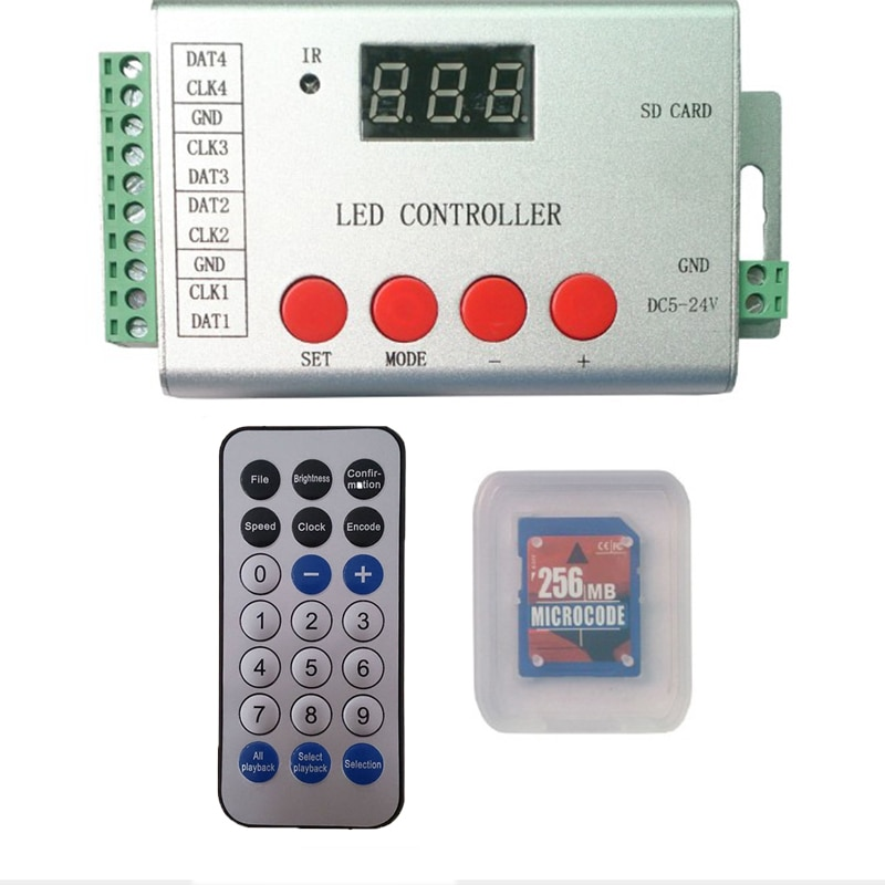 Controlador Led de pixel 4 puertos 6144 píxeles Control remoto RGB IR Control remoto inalámbrico DMX512 WS2811 WS2812 APA102 tira Led