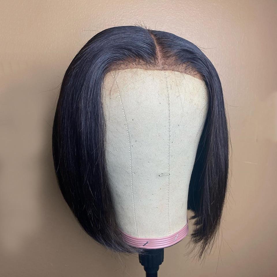 Pelucas de cabello humano frontal de encaje 150% Bob corto para mujeres negras, pelo liso Remy brasileño, decolorados nudos, Pre desplumado con pelo de bebé