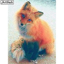 5d bricolage diamant peinture renard image pleine place hiver neige animal à la main diamant mosaïque autocollant