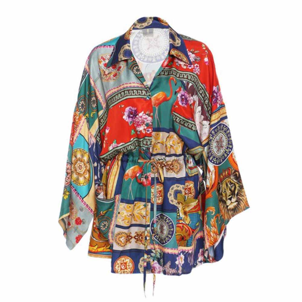 قميص نسائي كلاسيكي أوروبي من cultiبالدخول بياقة مقلوبة وخصر ضيق ومطبوع ومزود برباط قمصان فضفاضة بلوزات نسائية أنيقة على الموضة