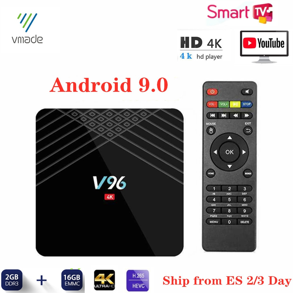 V96 Mini TV Box Android 9,0 WIFI 1,5 GHZ Smart IP-TV Box 2G 16GB Allwinner H6 Quad Core Google TV Netflix, Youtube reproductor de medios
