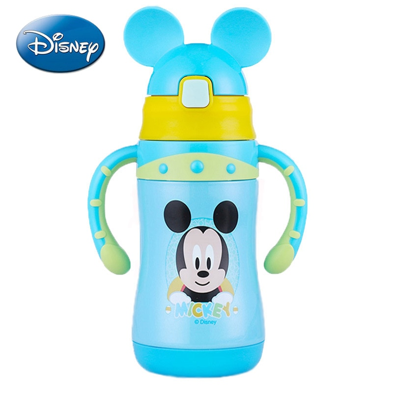 Disney children's vacuum flask baby baby household water cups for boys girls stainless steel water cups with handles and straws