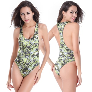 SWIMMART Plus Size Monokini Bathing Suits Women Removable Pad Racerback Swimsuit One Piece High Cut Swimwear Drop Shipping