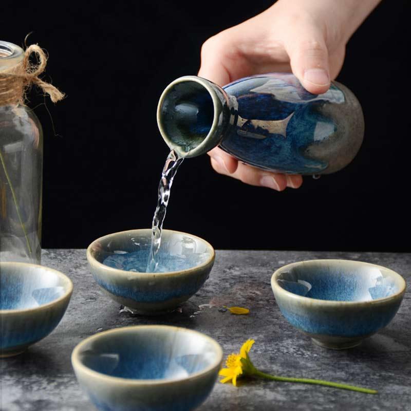 Retro Japanese Sake 5Pcs Set Ceramic Flagon Liquor Cup 1 Pot 4 Cups Home Bar Sake White Wine Pot Creative Drinkware Gifts