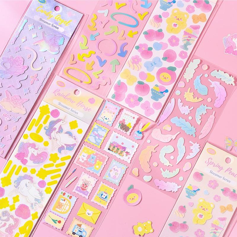 pegatinas-de-purpurina-con-pelicula-laser-para-album-de-recortes-1-hoja-de-pegatinas-de-colores-de-oso-de-Angel-de-dibujos-animados-para-album-de-recortes-diario-fabricacion-de-tarjetas-bricolaje