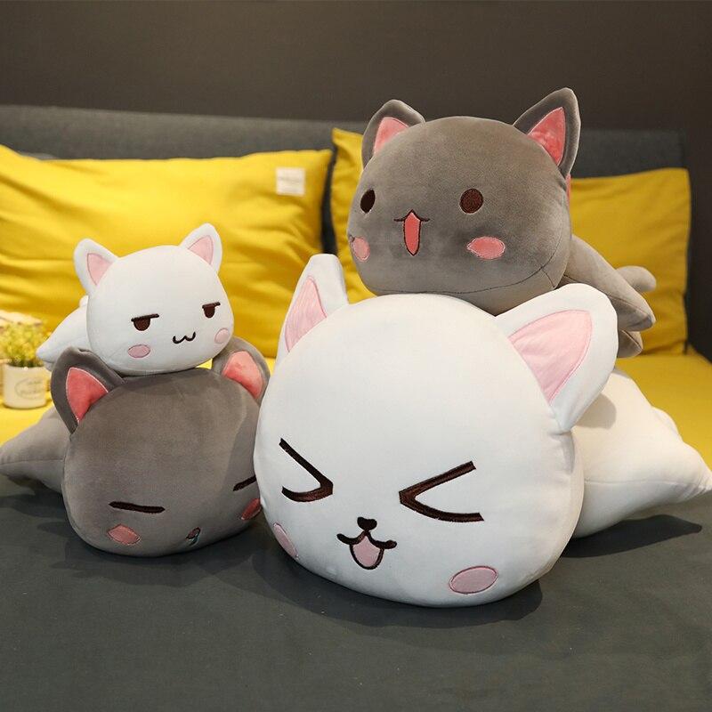 Bonitos juguetes de peluche Kawaii con diseño de gato acostado, bonitos muñecos de peluche, almohada de Animal encantador, cojín suave de dibujos animados, regalo de Navidad para chico y chica