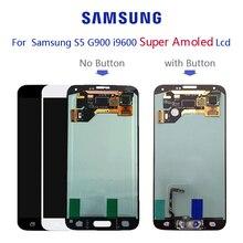 Original super amoled para samsung galaxy s5 g900f g900h display lcd tela de toque digitador assembléia com adesivo