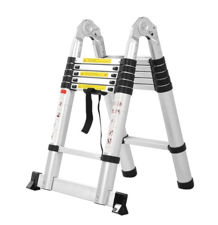 2.5M + 2.5M Herringbone Ladder Thickened Multifunctional Telescopic Ladder Engineering Ladder Portable Aluminum Alloy