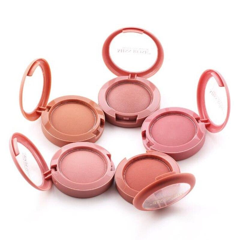 Colorete facial polvo maquillaje rojo colorete para mejilla polvo compacto de minerales paleta colorete cepillo bronceador paleta rubor Natural