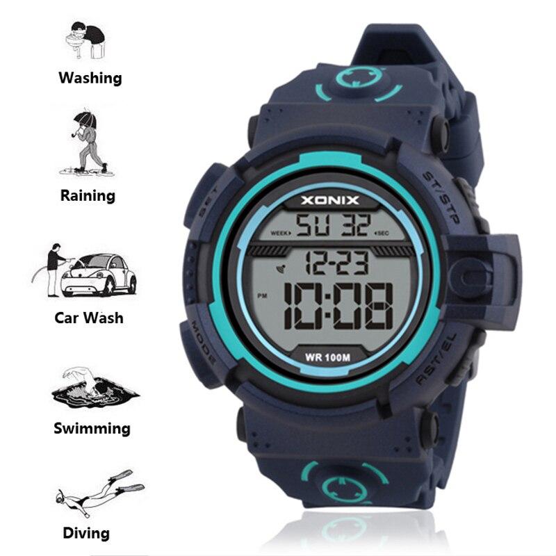 Цифровые мужские спортивные часы 100 м, водонепроницаемые наручные часы, профессиональные электронные японские часы для плавания, мужские ч...