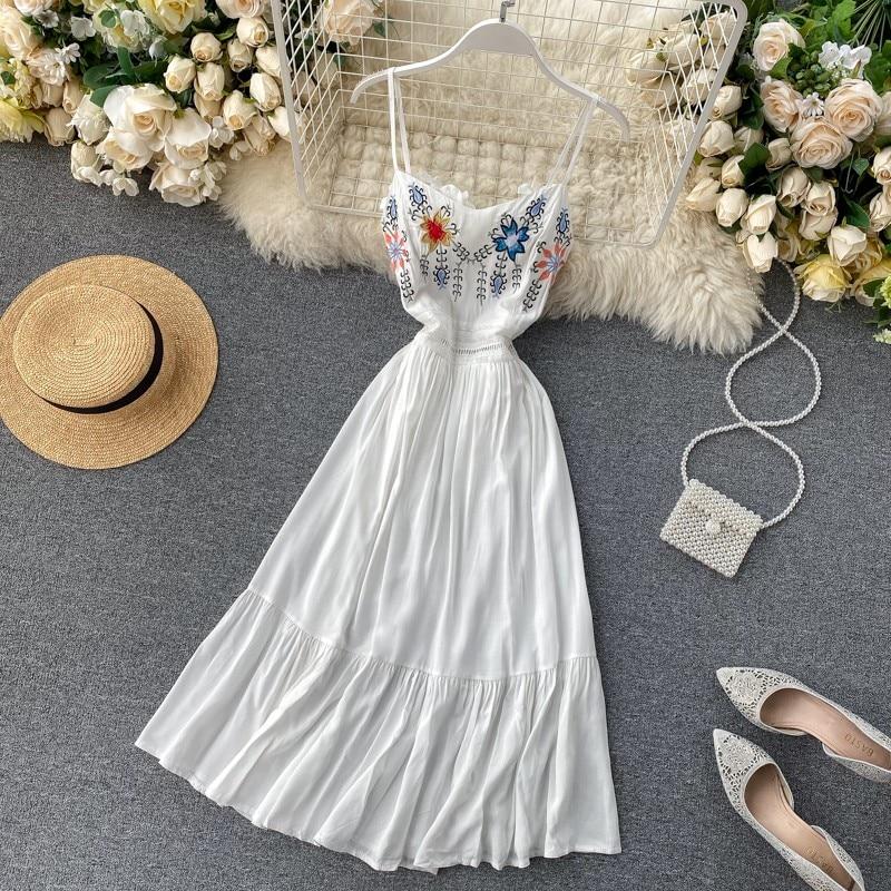Good Quality Flower Embroidery Dresses Women Dress Summer Hollow Out Waist Bohemian Dress Pink Holiday Midi Beach Party Dress
