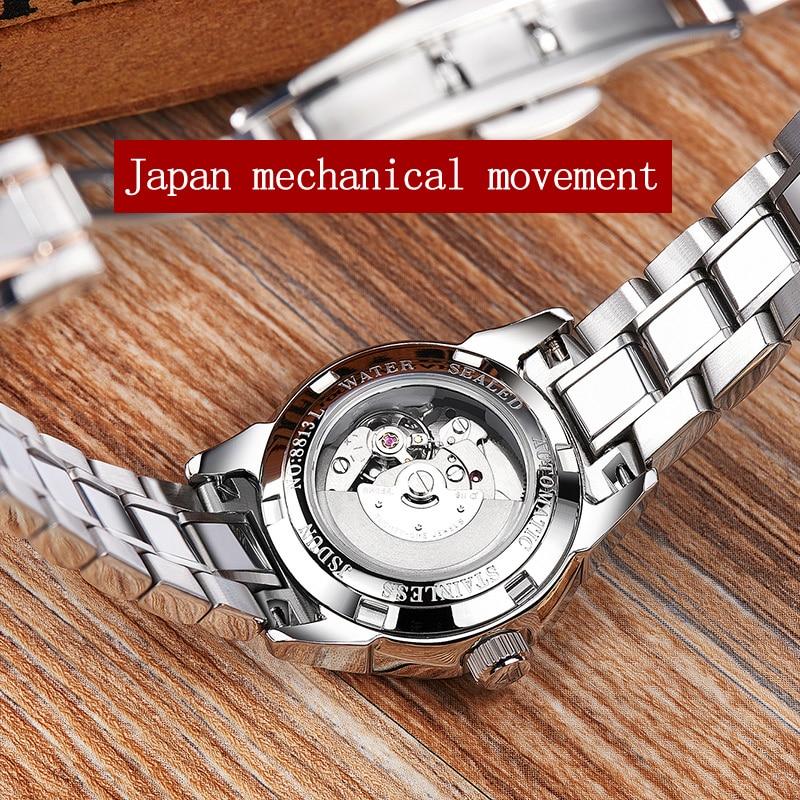 Ladies Watch JSDUN High Quality Fashion Mechanical Female Wrist Watch Stainless Steel Luxury Women Rose Gold Watch Men enlarge