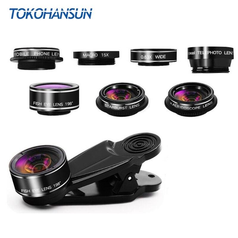 Tokohansun 7 em 1 kit de lente da câmera do telefone olho peixe grande angular/lente macro cpl caleidoscópio e 2x lente zoom telefoto para iphone 7
