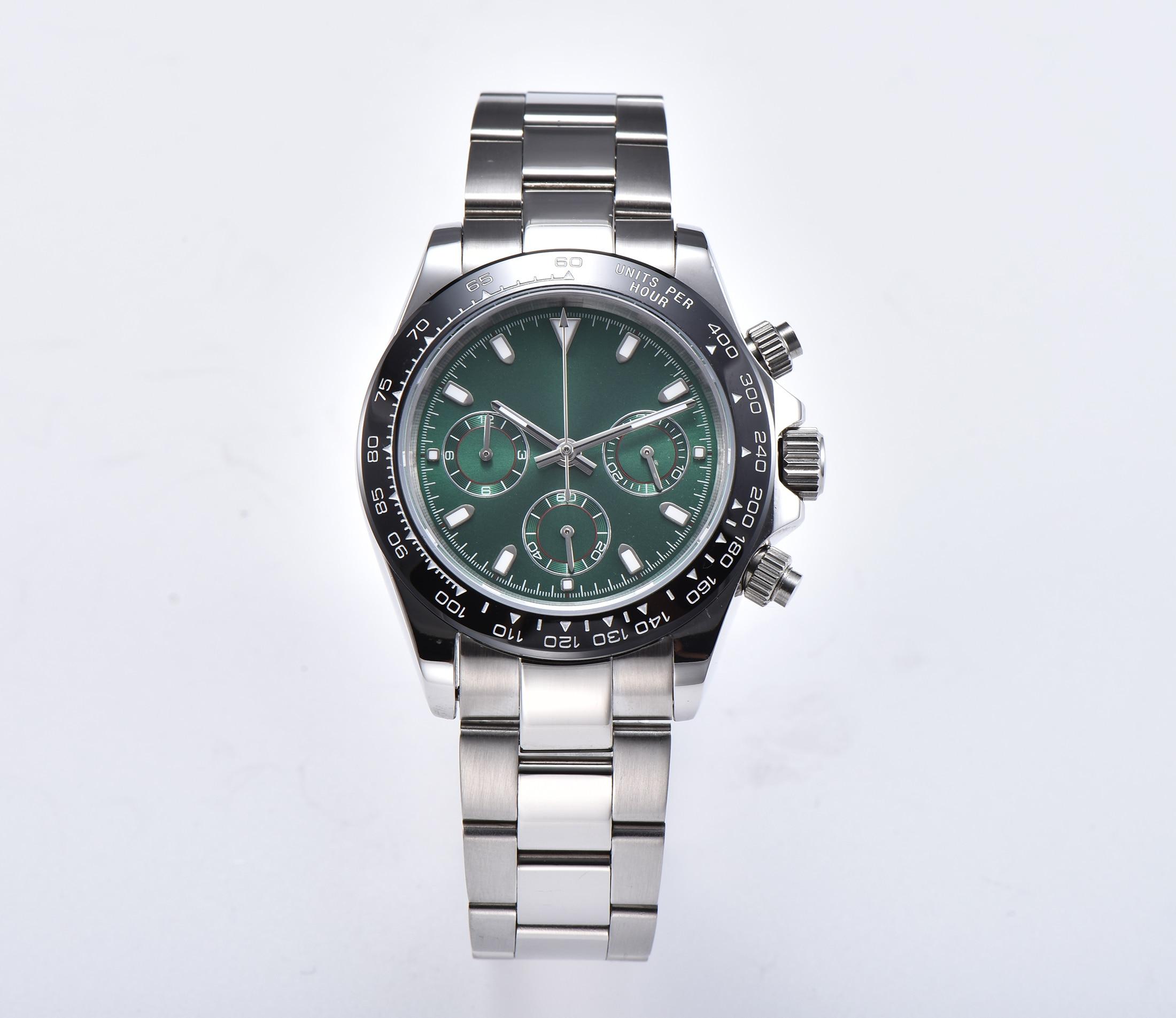 Reloj cronógrafo japonés VK63, movimiento de cuarzo, 39MM, esfera estéril, luminosa, manos, zafiro, caja de fibra de vidrio, pulsera TO342