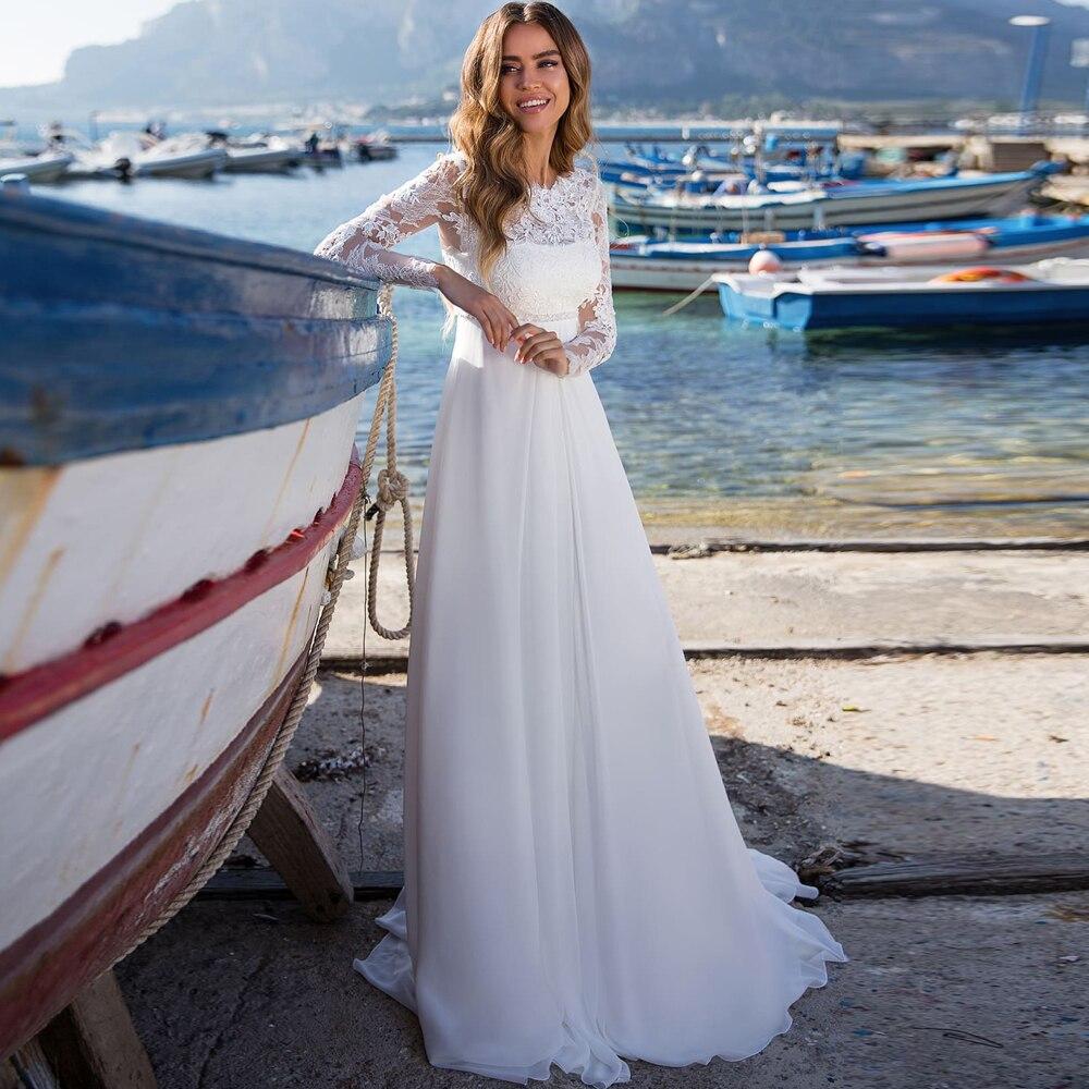 2020 Appliques Empire Waist Wedding Dress Long Sleeves Chiffon Boho Wedding Gowns Vestido De Novia Chiffon Wedding Party Dress empire waist tartan print slip dress