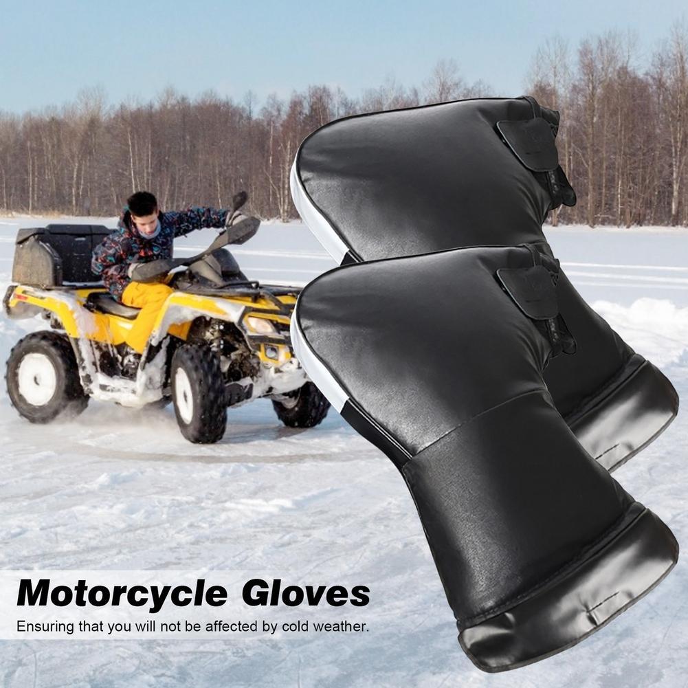 Um par de inverno luvas da motocicleta luvas de algodão luvas de equitação quente couro do plutônio com tiras reflexivas motocicleta equitação equi