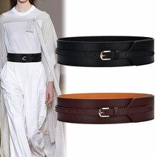 Cinturón de piel auténtica superancho para mujer, Cinturón de piel de vaca con diseño de nudo suave, hebilla dorada