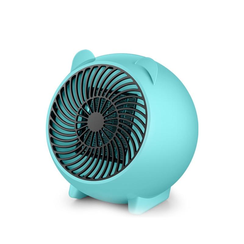 Calefactor eléctrico de cerámica de 250 W, ventilador de aire de calefacción rápido portátil para oficina, hogar, azul, enchufe europeo