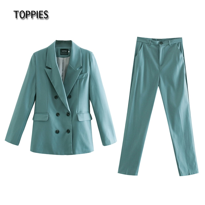 Toppies 2021 spring blazer + pant two peice set women double breasted suit jacket high waist pants