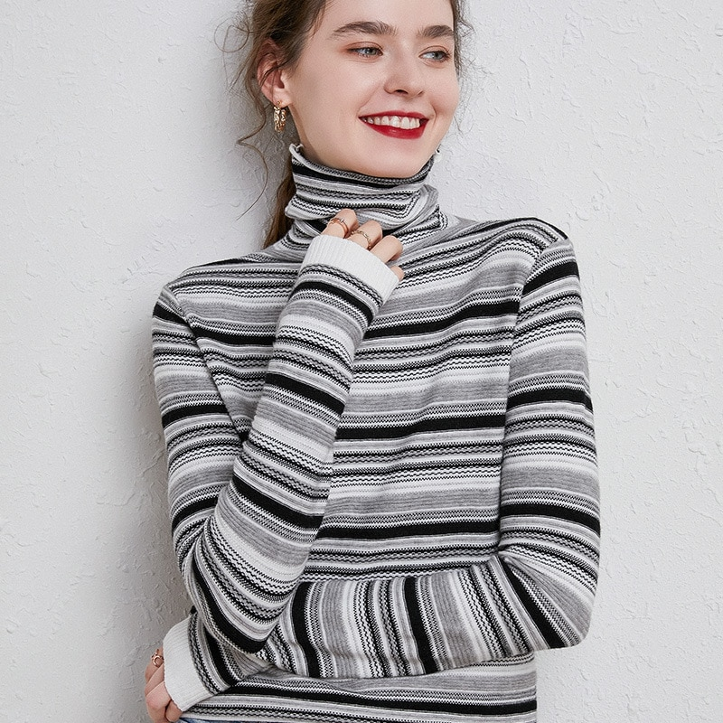 FAKUNTN Autumn Winter Women Knitted Turtleneck Pullover Sweater 2020 Retro Stripes Slim Long Sleeve New Fashion Loose Sweaters недорого