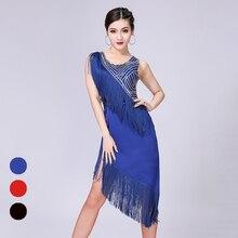 Frange robe de danse latine pour les femmes Costume de danse classique brillant Tango vêtements de danse Sexy claquettes vêtements Cha Cha tenues JL1518