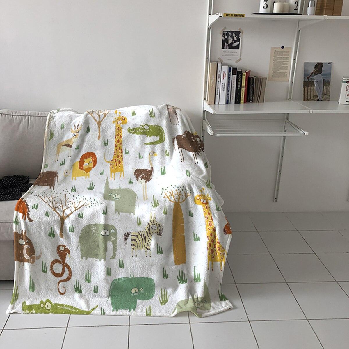 Special Throw Blanket For Bed Elephant Giraffe Cartoon Nap Traveling Soft Flannel Blanket Children's Bedroom Bedspreadc