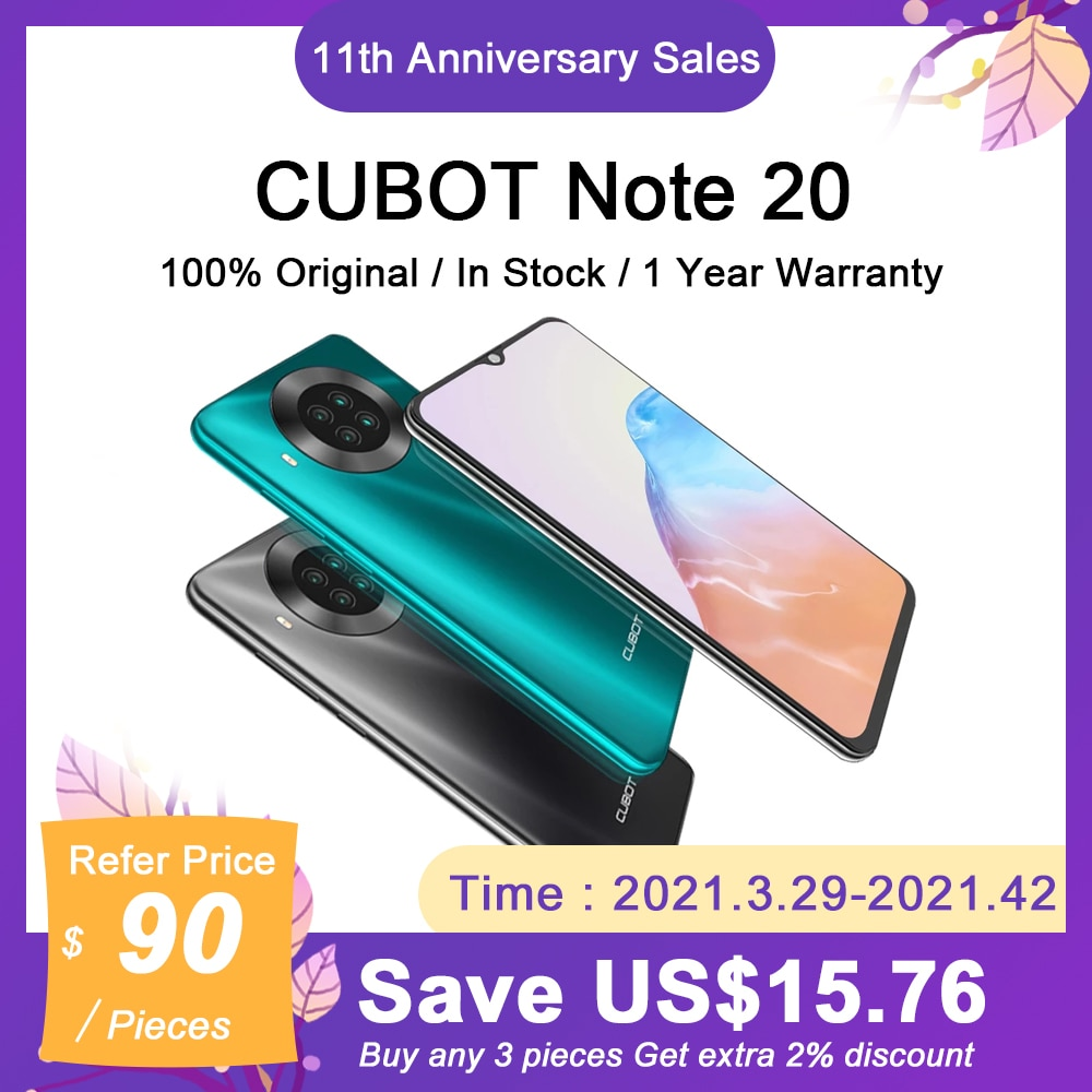 CUBOT Note 20 NFC Smartphone 6.5'' Rear Quad Cameras 12MP+20MP 4200mAh Mobile Phone Android 10 Dual SIM 3GB+64GB 4G LTE