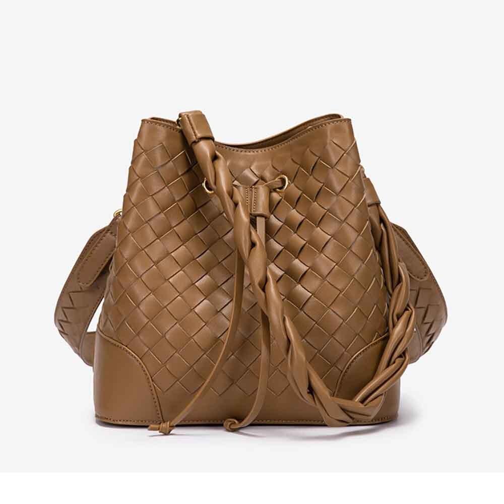 حقيبة نسائية من الجلد المنسوج على الموضة شنطة كتف بدلو ومحافظ حقائب بتصميم فاخر حقيبة نسائية الحياكة 2021 جديد