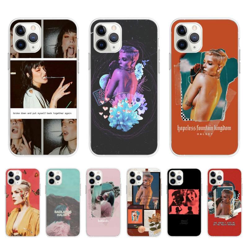Carcasa negra Yinuoda Halsey para iPhone 11pro MAX 8 7 6S Plus X XS MAX 5 5S SE XR, Fundas Capa