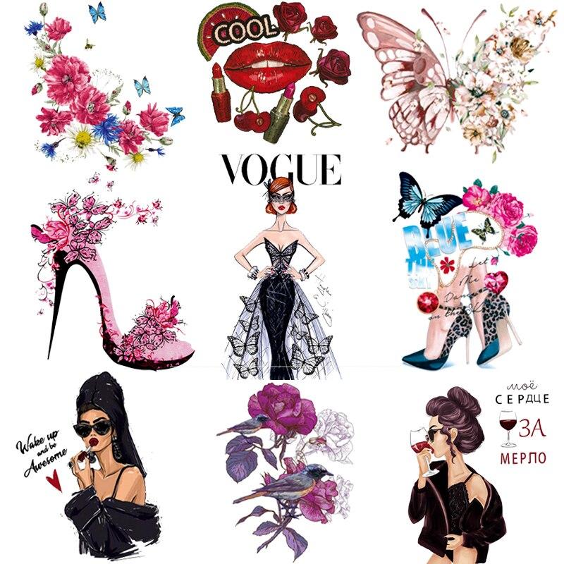 Утюжок для одежды с принтом бабочки Queen, термопереводные виниловый нашивки в полоску с изображением цветка, стираемые Стикеры для глажки од...