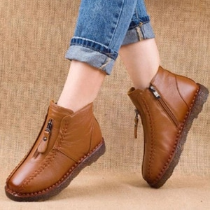 Women Winter Snow Boots Shoes Casual Ladies PU Leather Plush Warm Women Shoes Zip Sewing Female Flat Comfortable