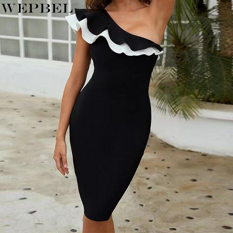 off shoulder self tie waist dress WEPBEL Sexy One Shoulder Dress Women's Casual Solid Color Ruffles Stitching Dress Summer Off Shoulder Slim High Waist Dress