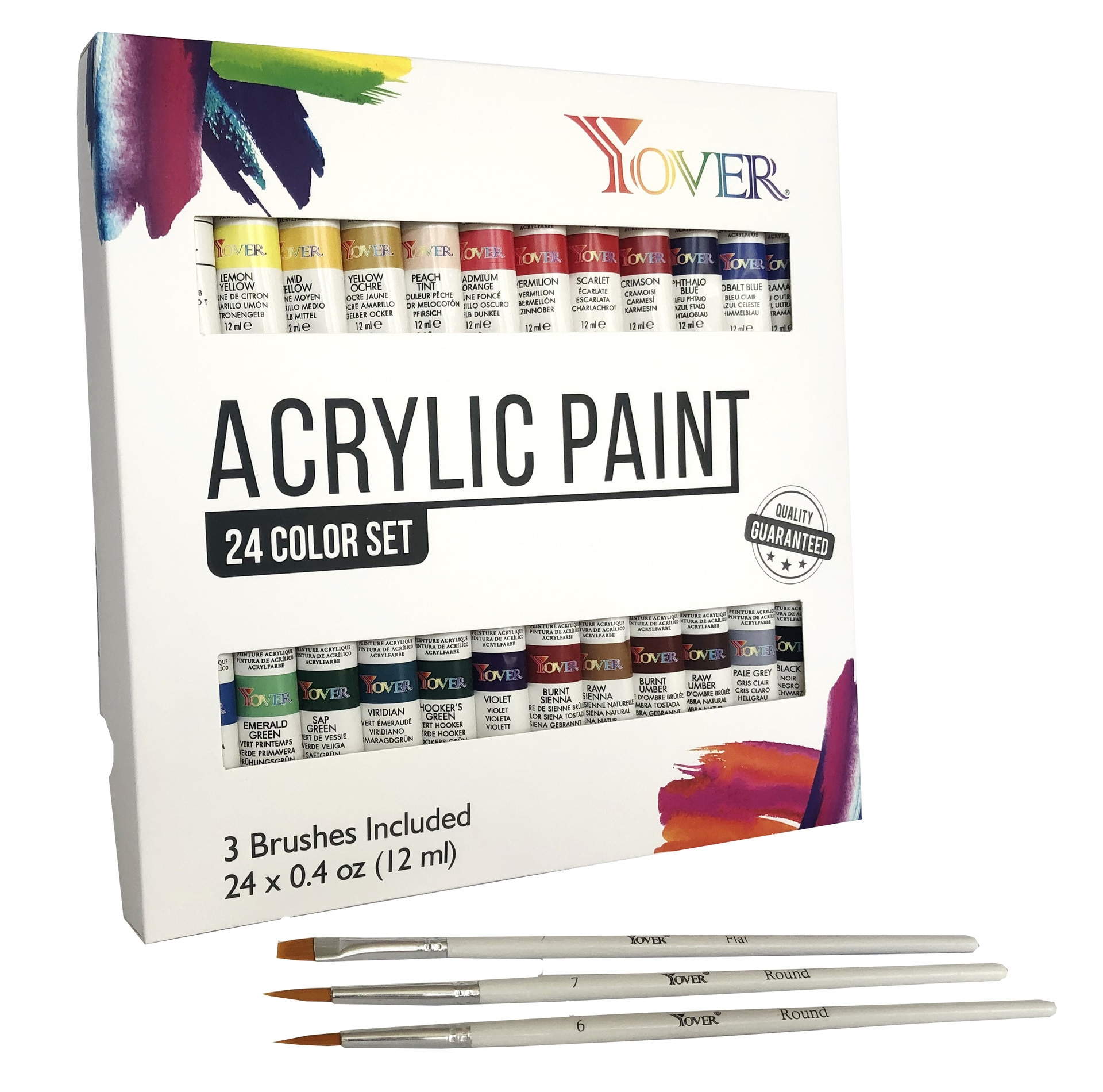 24 Pcs Acrylic Pigment Professional Art Sets Painting Supplies Art Pigment 24 Color 12ml Acrylic Pigment + 3 Brushes Set