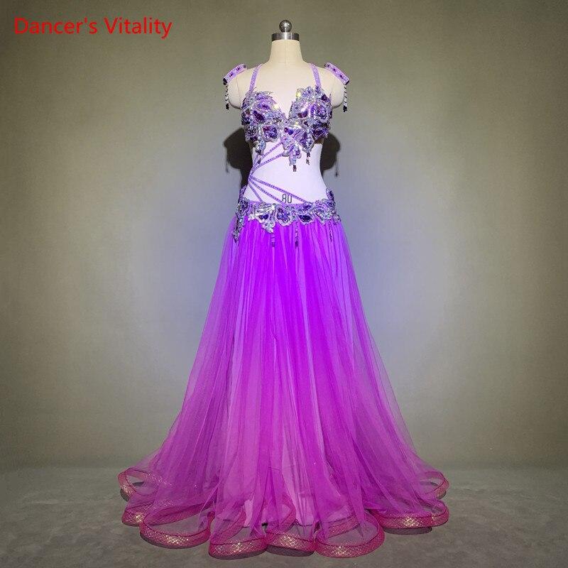 الرقص الشرقي امرأة الراقية مثير سوار الصدرية تنورة 3 قطعة طفل الإناث أنيقة كبيرة سوينغ تنورة أداء مخصص الملابس مجموعة