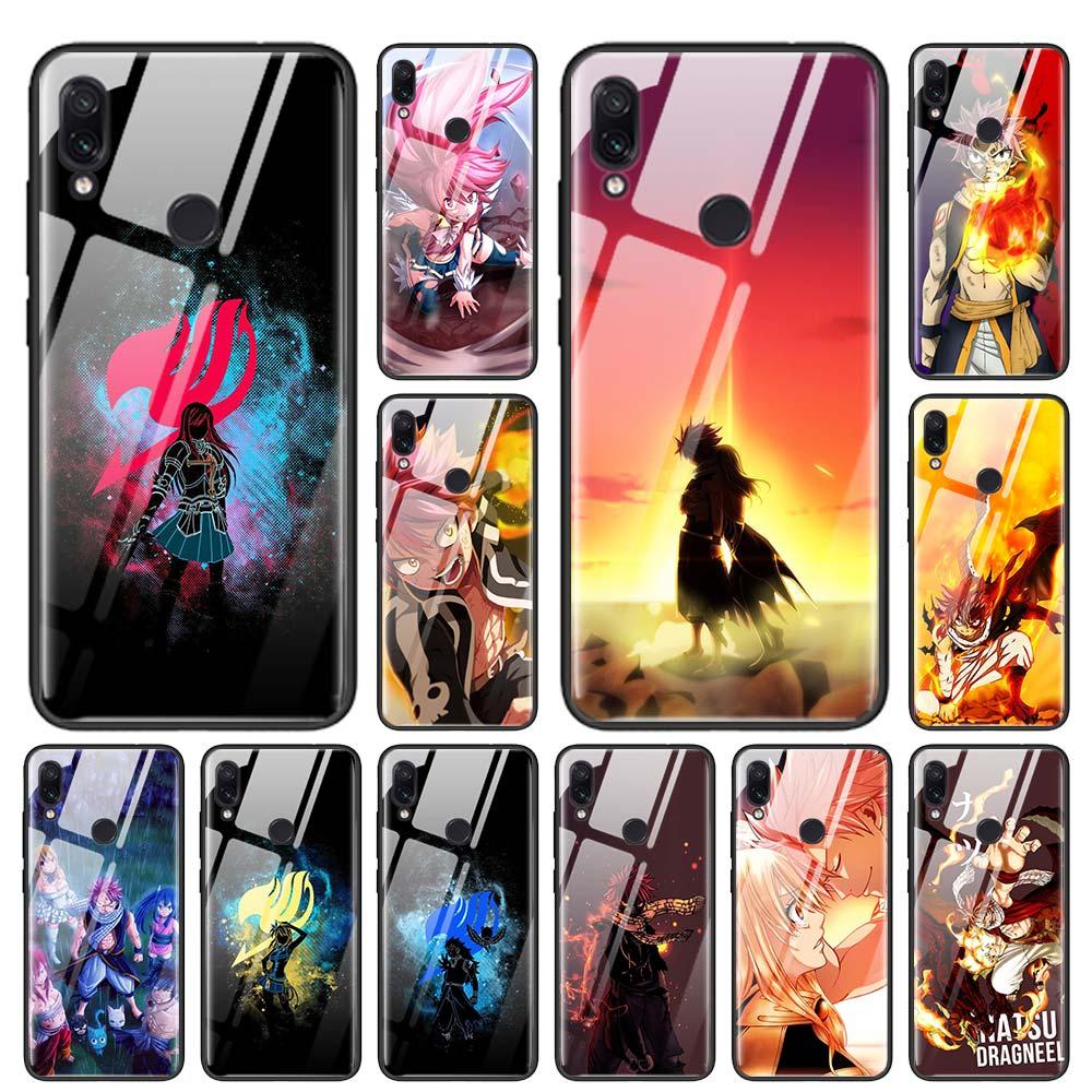 Anime mangá fairy tail capa de vidro temperado para mi nota vermelha 6 7 8 pro 8 t 9 t k20 k30 xiao mi a3 cc9 cc9e nota 10 pro capa