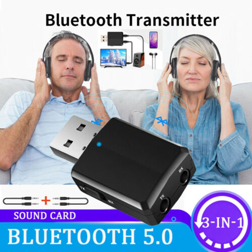 3 in 1 USB Bluetooth 5.0 Audio Transmitter/Receiver Adapter Portable for TV/PC/Car QJY99
