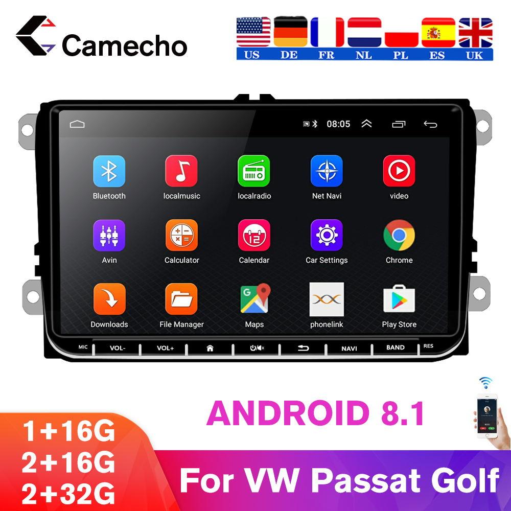 "Camecho 2 Din Android 9"" GPS Navigation Car Radios Stereo Multimedia Player For Bora Golf Polo VW Volkswagen passat b6 B7 Touran"