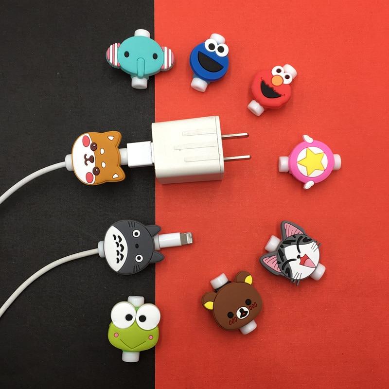 Protector de Cable bonito para iPhone, enrollador de Cable USB, organizador de accesorios, bonito modelo de muñeca de Animal, 1 ud.