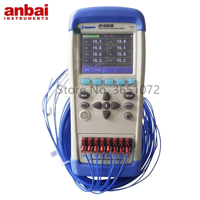 Anbai AT4208 مسجل بيانات متعدد القنوات مع 3.5 بوصة TFT-LCD العرض